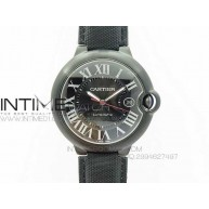 Ballon Bleu 42mm DLC V6F Best Edition Black Dial on Black Nylon Leather Strap A2824 - InTimeWatch