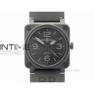 BR 03-92 PVD Case V2 Black Dial Gray Numbers 42.5mm on Rubber Strap MIYOTA 9015 - InTimeWatch