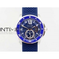 Calibre De Cartier Diver SS/RG Blue JJF 1:1 Best Edition on Blue Rubber Strap A23J - InTimeWatch
