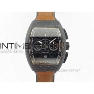 Casablanca Chrono Carbon Black Dial on Brown Gummy Strap A7753 - InTimeWatch