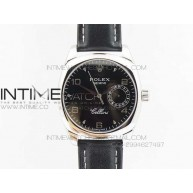 Cellini Date VF SS Black Numeral Dial on Black Leather Strap A2824 - InTimeWatch