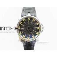 Excalibur RDDBEX0495 SS Black Dial on Black Leather Strap - InTimeWatch