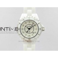 J12 33mm KOR 1:1 Best Edition White Korea Ceramic White Dial Diamond Markers on Bracelet Swiss Quartz - InTimeWatch