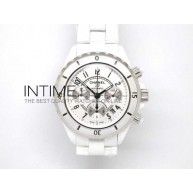 J12 Auto Chrono White Full Ceramic A7750