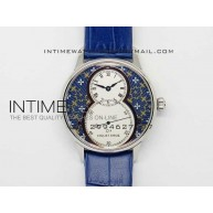 Jaquet Droz SS Case White dial Blue Flowers on blue leather - InTimeWatch