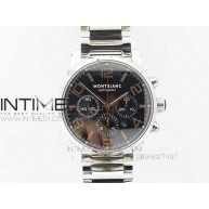 MONTBLANC TIMEWALKER CHRONO SS BLACK WITH 3 SUB-DIALS RG Numbers On SS Bracelet - InTimeWatch