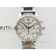 MONTBLANC TIMEWALKER CHRONO SS White WITH 3 SUB-DIALS RG Numbers On SS Bracelet - InTimeWatch